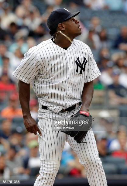 Pitcher Luis Severino of the New York Yankees reacts in an MLB baseball game against the Boston Red Sox on August 12 2017 at Yankee Stadium in the...