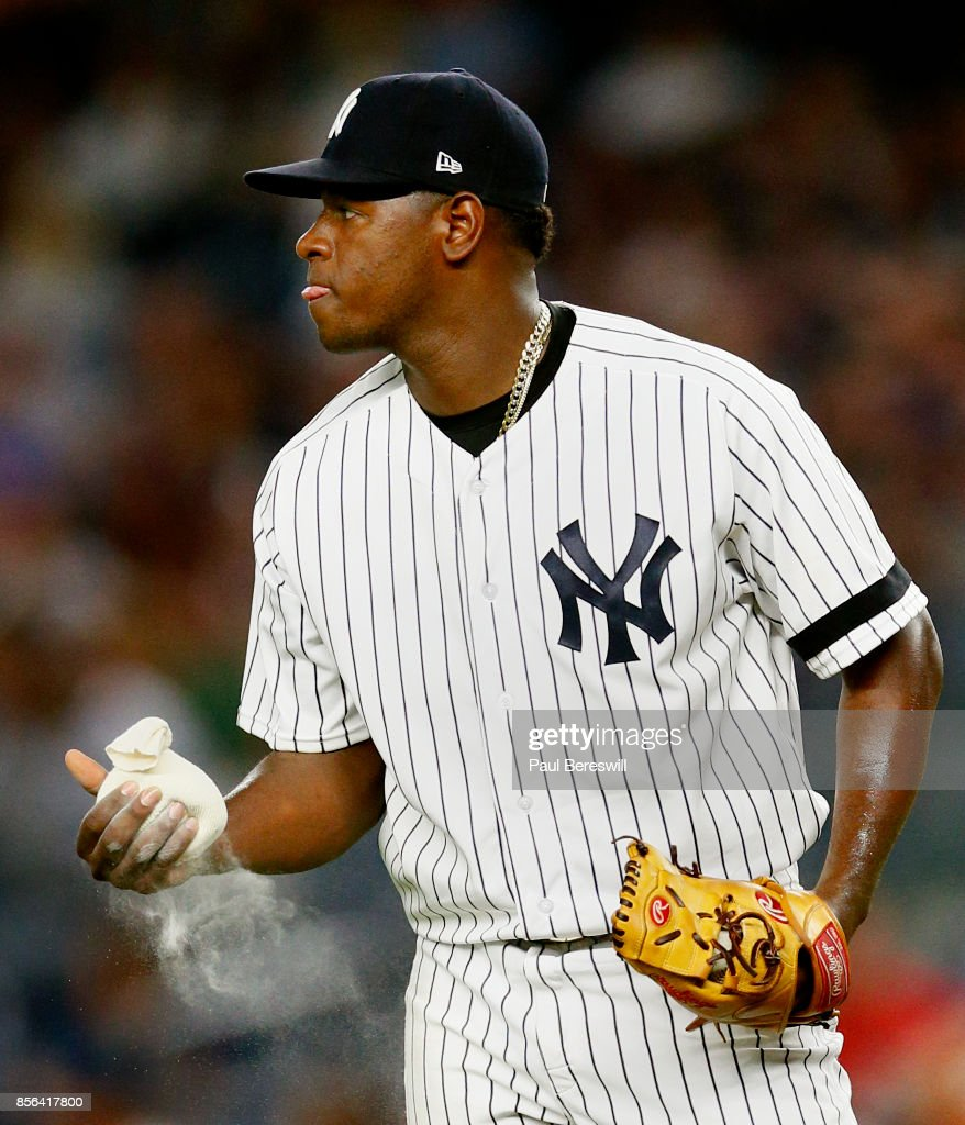 Pitcher Luis Severino #40 of the New York Yankees squeezes the rosin bag as he reacts in an MLB baseball game against the Baltimore Orioles on September 15, 2017 at Yankee Stadium in the Bronx borough of New York City. Yankees won 8-2.