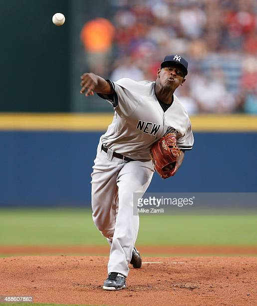 Pitcher Luis Severino of the New York Yankees throws a pitch during the game against the Atlanta Braves at Turner Field on August 29 2015 in Atlanta...