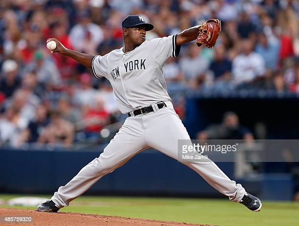 Pitcher Luis Severino of the New York Yankees throws a pitch in the second inning during the game against the Atlanta Braves at Turner Field on...