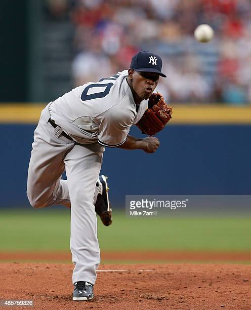 Pitcher Luis Severino of the New York Yankees throws a pitch in the first inning during the game against the Atlanta Braves at Turner Field on August...