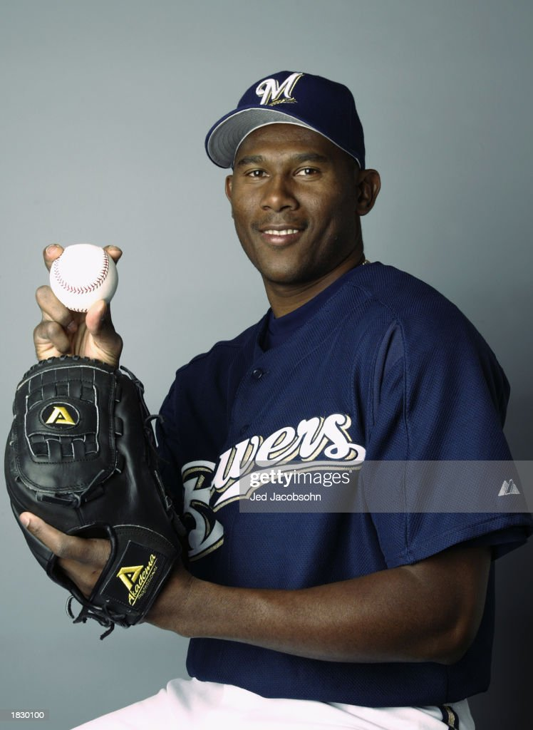 Pitcher Luis Vizcaino of the Milwaukee Brewers poses for a portrait during the Brewers' spring training Media Day February 24 2003 in Marysville...
