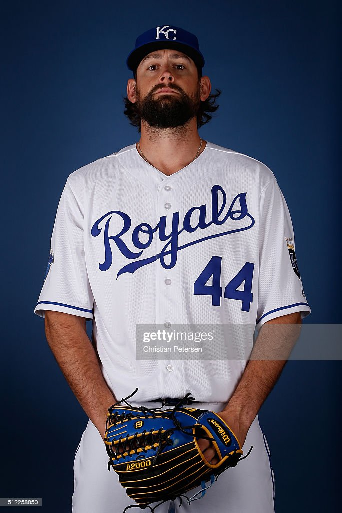 Pitcher <a gi-track='captionPersonalityLinkClicked' href=/galleries/search?phrase=Luke+Hochevar&family=editorial&specificpeople=4167949 ng-click='$event.stopPropagation()'>Luke Hochevar</a> #44 of the Kansas City Royals poses for a portrait during spring training photo day at Surprise Stadium on February 25, 2016 in Surprise, Arizona.