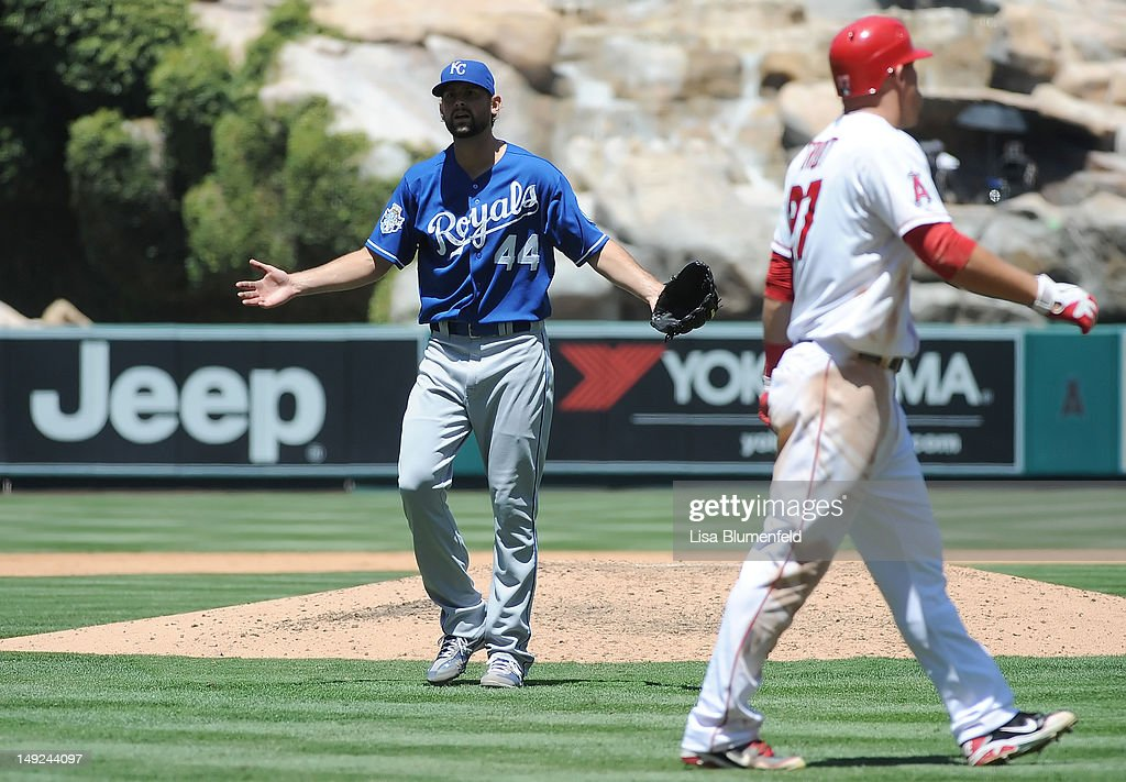 Pitcher <a gi-track='captionPersonalityLinkClicked' href=/galleries/search?phrase=Luke+Hochevar&family=editorial&specificpeople=4167949 ng-click='$event.stopPropagation()'>Luke Hochevar</a> #44 of the Kansas City Royals reacts after umpire Bob Davidson ejects him in the fourth inning against the Los Angeles Angels of Anaheim at Angel Stadium of Anaheim on July 25, 2012 in Anaheim, California.