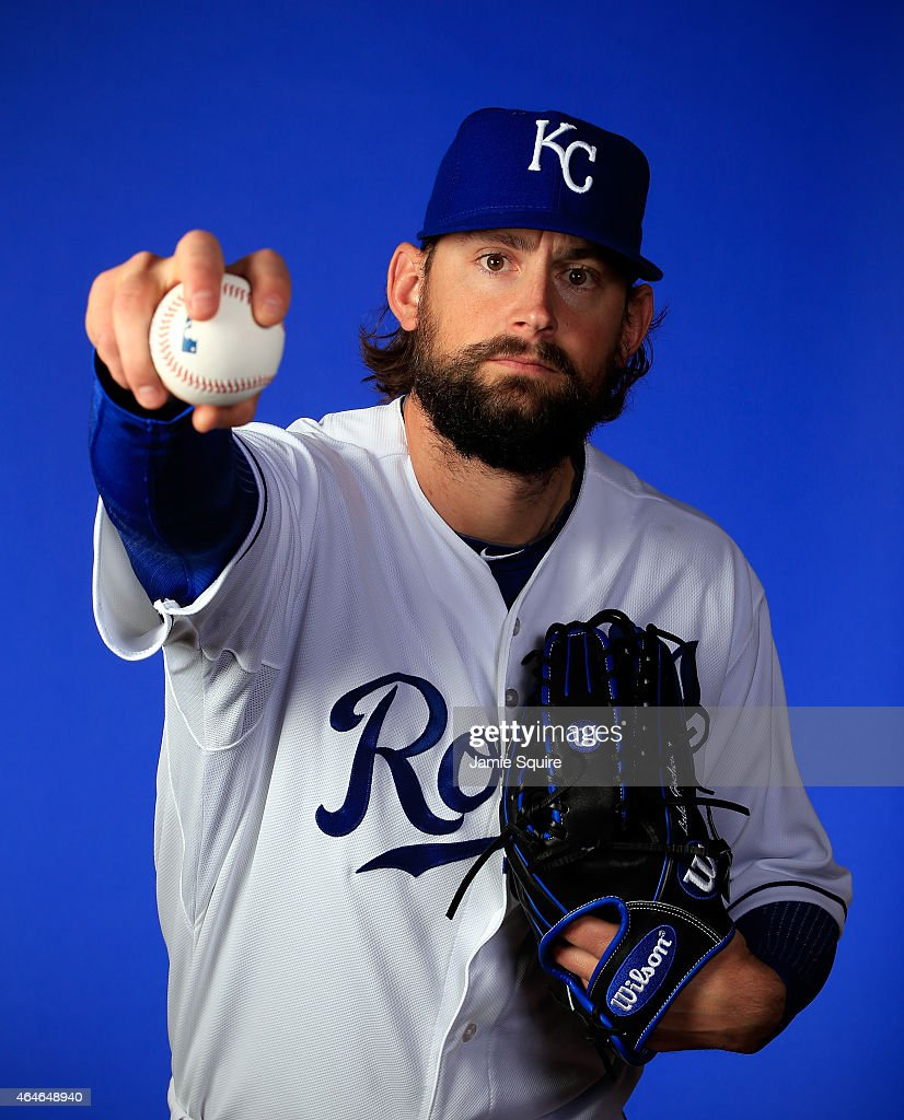 Pitcher <a gi-track='captionPersonalityLinkClicked' href=/galleries/search?phrase=Luke+Hochevar&family=editorial&specificpeople=4167949 ng-click='$event.stopPropagation()'>Luke Hochevar</a> #44 poses during Kansas City Royals Photo Day on February 27, 2015 in Surprise, Arizona.