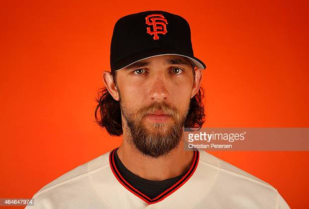 Pitcher Madison Bumgarner of the San Francisco Giants poses for a portrait during spring training photo day at Scottsdale Stadium on February 27 2015...
