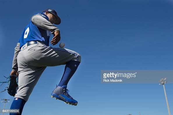 Pitcher Marcus Stroman bounces a baseball off his thigh as he waits for his turn during fielding drills Toronto Blue Jays continue the daily workouts...