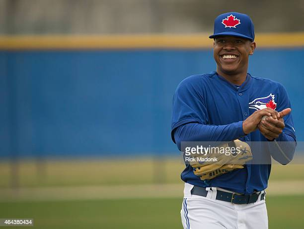 DUNEDIN FEBRUARY 25 Pitcher Marcus Stroman during the warm up at the Bobby Mattock Training Facility in Dunedin as the Jays continue spring training...