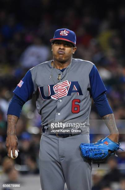 Pitcher Marcus Stroman of team United States reacts in the seventh inning against team Puerto Rico during Game 3 of the Championship Round of the...