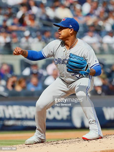 Pitcher Marcus Stroman of the Toronto Blue Jays reacts in an MLB baseball game against the New York Yankees on September 30 2017 at Yankee Stadium in...