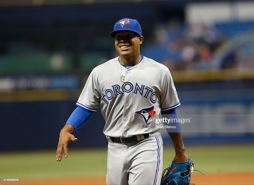 Pitcher Marcus Stroman #6 of the Toronto Blue Jays walks to the dugout after being taken off the mound by manager John Gibbons during the ninth inning of a game on April 3, 2016 at Tropicana Field in St. Petersburg, Florida.