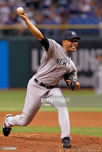 Pitcher Mariano Rivera of the New York Yankees pitches against the Tampa Bay Rays during the Opening Day game at Tropicana Field on April 6 2012 in...