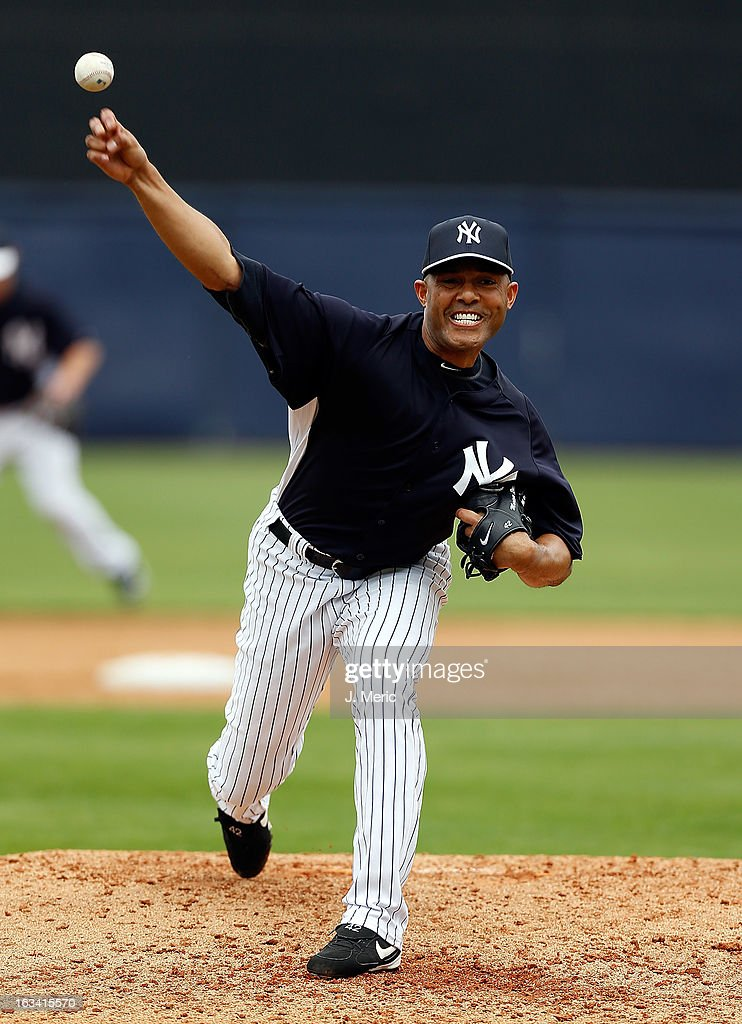 Pitcher Mariano Rivera #42 of the New York Yankees pitches against the Atlanta Braves during a Grapefruit League Spring Training Game at George M. Steinbrenner Field on March 9, 2013 in Tampa, Florida.
