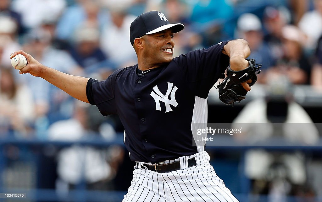 Pitcher <a gi-track='captionPersonalityLinkClicked' href=/galleries/search?phrase=Mariano+Rivera&family=editorial&specificpeople=201607 ng-click='$event.stopPropagation()'>Mariano Rivera</a> #42 of the New York Yankees pitches against the Atlanta Braves during a Grapefruit League Spring Training Game at George M. Steinbrenner Field on March 9, 2013 in Tampa, Florida.