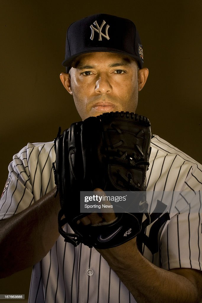 Pitcher <a gi-track='captionPersonalityLinkClicked' href=/galleries/search?phrase=Mariano+Rivera&family=editorial&specificpeople=201607 ng-click='$event.stopPropagation()'>Mariano Rivera</a> #42 of the New York Yankees poses for a portrait in his Rye, New York home on December 3, 2009.