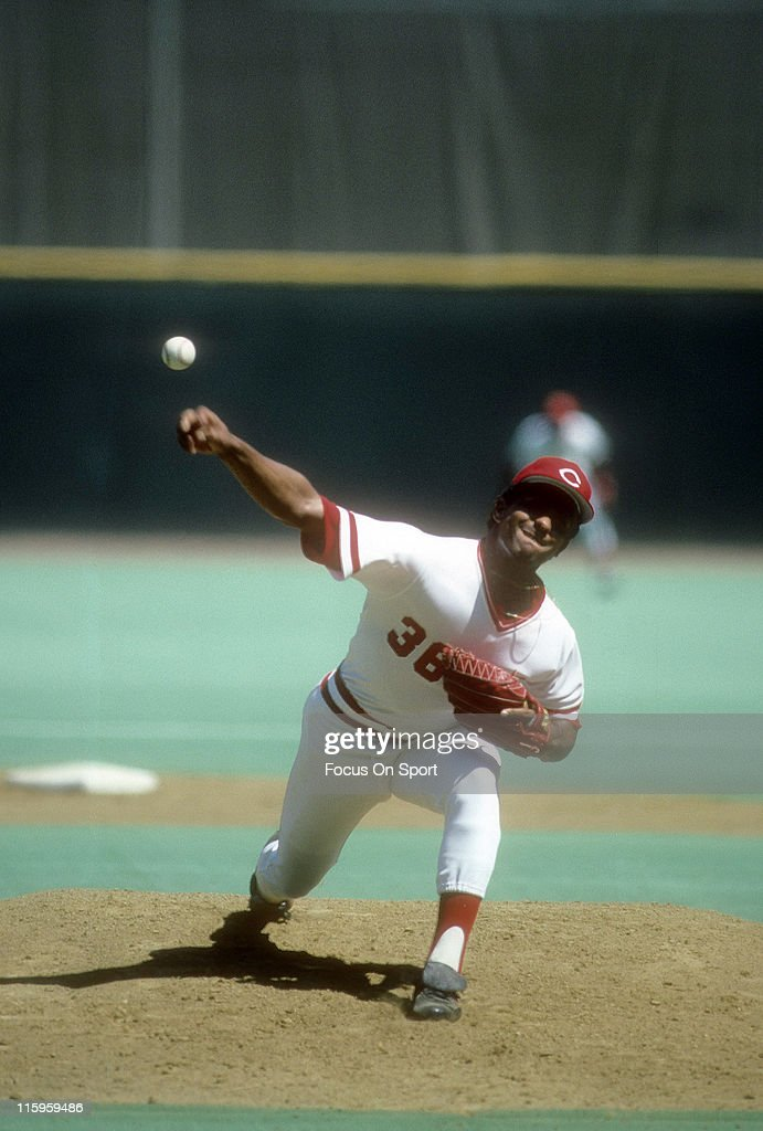 Pitcher Mario Soto #36 of the Cincinnati Reds pitches during a Major League Baseball game circa 1980 at Riverfront Stadium in Cincinnati, Ohio. Soto played for the Reds from 1977-88.