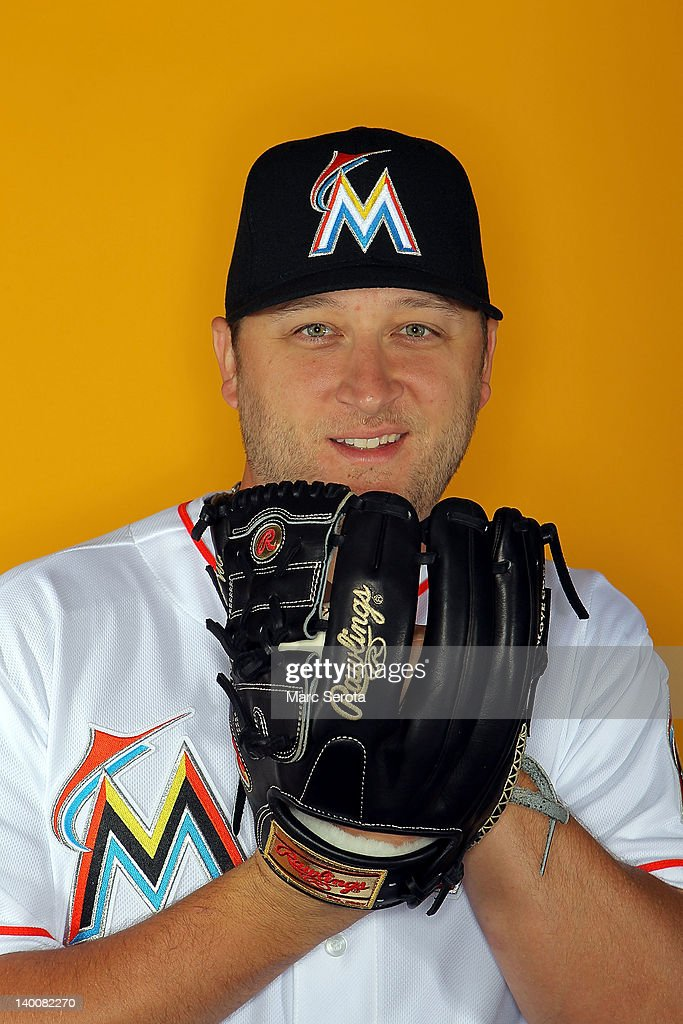 Pitcher <a gi-track='captionPersonalityLinkClicked' href=/galleries/search?phrase=Mark+Buehrle&family=editorial&specificpeople=204644 ng-click='$event.stopPropagation()'>Mark Buehrle</a> #56 of the Miami Marlins poses for photos during media day at Roger Dean Stadium on February 27, 2012 in Jupiter, Florida.