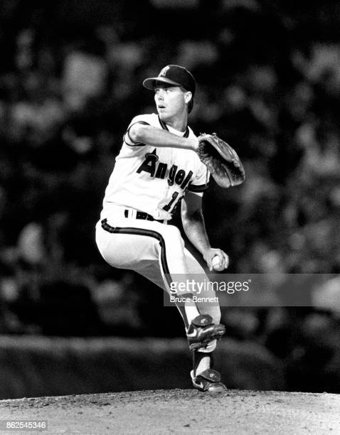 Pitcher Mark Langston of the California Angels throws during an MLB game circa 1990 at Anaheim Stadium in Anaheim California