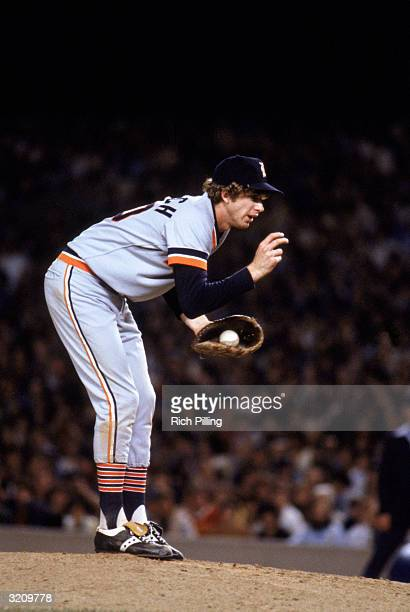 Pitcher Mark 'The Bird' Fidrych of the Detroit Tigers on the mound during a game in the 1979 season