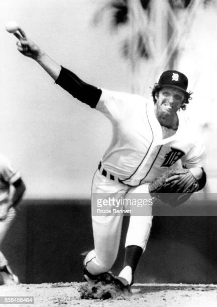 Pitcher Mark 'The Bird' Fidrych of the Detroit Tigers throws a twoseam fastball during an MLB Spring Training game circa March 1980 in Lakeland...