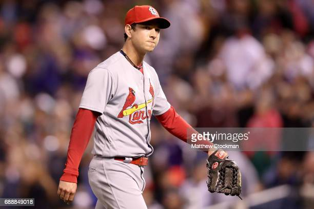 Pitcher Matt Bowman of the St Louis Cardinals leaves the game in the eighth inning against the Colorado Rockies at Coors Field on May 26 2017 in...