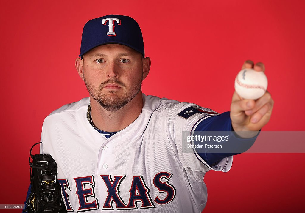 Pitcher <a gi-track='captionPersonalityLinkClicked' href=/galleries/search?phrase=Matt+Harrison&family=editorial&specificpeople=4171692 ng-click='$event.stopPropagation()'>Matt Harrison</a> #54 of the Texas Rangers poses for a portrait during spring training photo day at Surprise Stadium on February 20, 2013 in Surprise, Arizona.