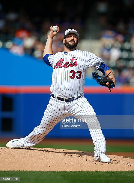 Pitcher Matt Harvey of the New York Mets delivers a pitch against the Miami Marlins in the first inning during a game at Citi Field on July 4 2016 in...