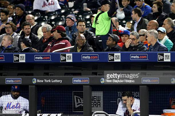 Pitcher Matt Harvey of the New York Mets in the dugout after being pulled from the game in the sixth inning during the Atlanta Braves Vs New York...