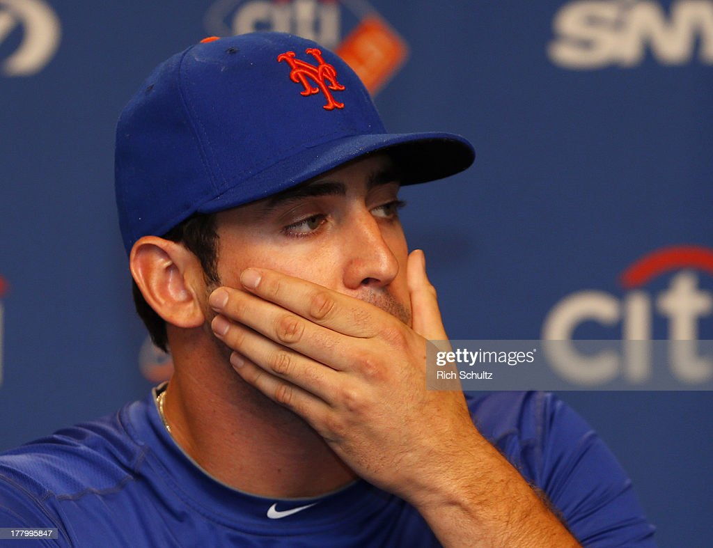 Pitcher <a gi-track='captionPersonalityLinkClicked' href=/galleries/search?phrase=Matt+Harvey+-+Baseball+Player&family=editorial&specificpeople=10881867 ng-click='$event.stopPropagation()'>Matt Harvey</a> #33 of the New York Mets talks to the media about his partially torn ulnar collateral ligament (UCL) on August 26, 2013 at Citi Field in the Flushing neighborhood of the Queens borough of New York City.