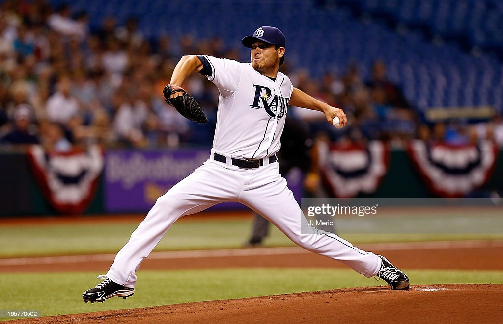 Pitcher <a gi-track='captionPersonalityLinkClicked' href=/galleries/search?phrase=Matt+Moore+-+Baseball+Player&family=editorial&specificpeople=15003307 ng-click='$event.stopPropagation()'>Matt Moore</a> #55 of the Tampa Bay Rays pitches against the Cleveland Indians during the game at Tropicana Field on April 5, 2013 in St. Petersburg, Florida.