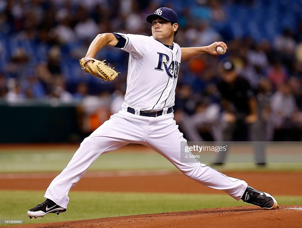 Pitcher <a gi-track='captionPersonalityLinkClicked' href=/galleries/search?phrase=Matt+Moore+-+Baseball+Player&family=editorial&specificpeople=15003307 ng-click='$event.stopPropagation()'>Matt Moore</a> #55 of the Tampa Bay Rays pitches against the New York Yankees during the game at Tropicana Field on September 5, 2012 in St. Petersburg, Florida.