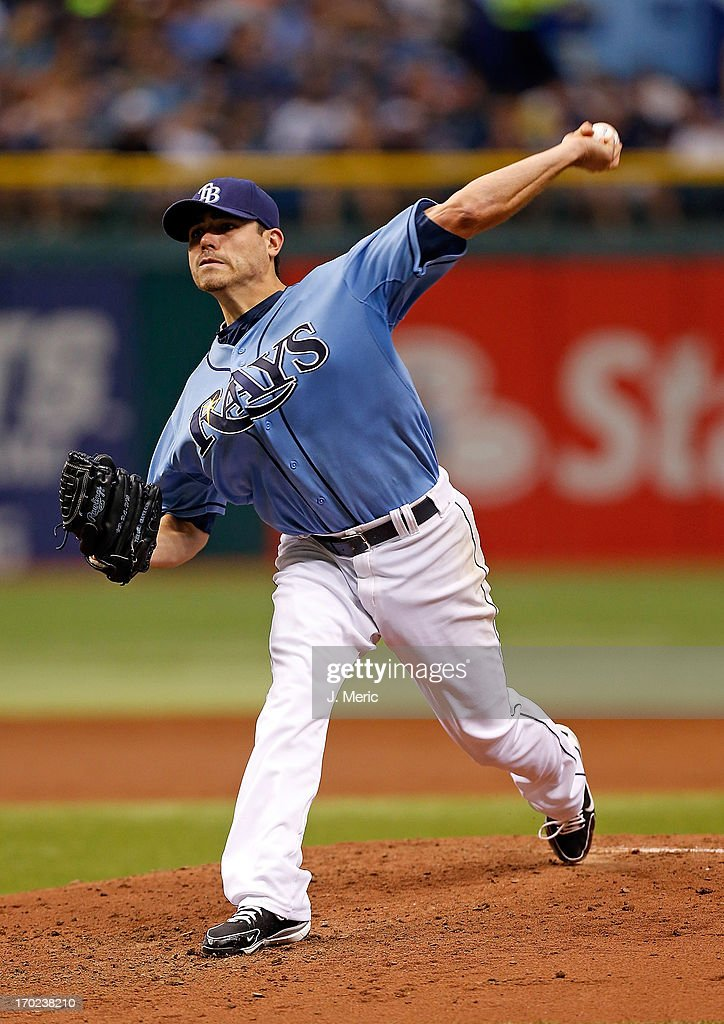 Pitcher <a gi-track='captionPersonalityLinkClicked' href=/galleries/search?phrase=Matt+Moore+-+Baseball+Player&family=editorial&specificpeople=15003307 ng-click='$event.stopPropagation()'>Matt Moore</a> #55 of the Tampa Bay Rays pitches against the Baltimore Orioles during the game at Tropicana Field on June 9, 2013 in St. Petersburg, Florida.