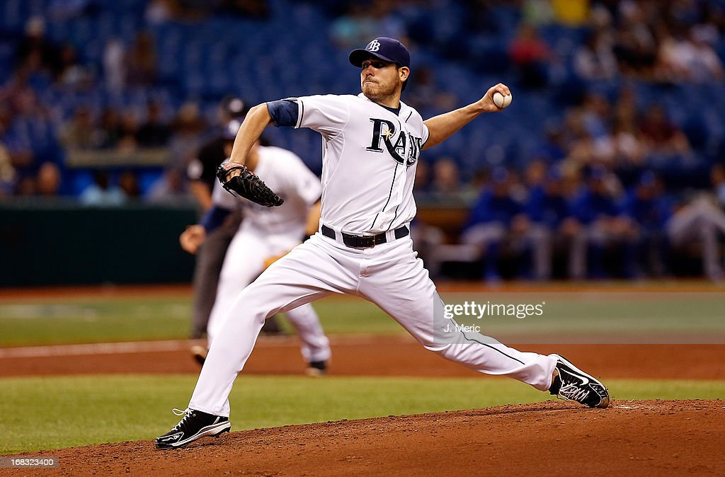 Pitcher <a gi-track='captionPersonalityLinkClicked' href=/galleries/search?phrase=Matt+Moore+-+Baseball+Player&family=editorial&specificpeople=15003307 ng-click='$event.stopPropagation()'>Matt Moore</a> #55 of the Tampa Bay Rays pitches against the Toronto Blue Jays during the game at Tropicana Field on May 8, 2013 in St. Petersburg, Florida.