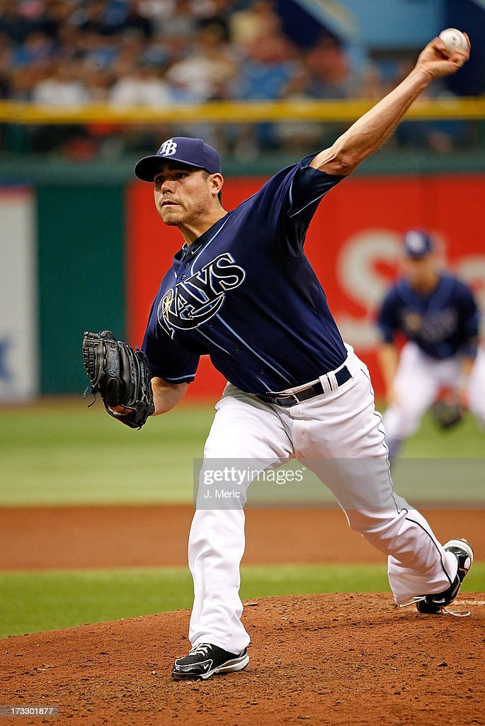 Pitcher Matt Moore #55 of the Tampa Bay Rays pitches against the Minnesota Twins during the game at Tropicana Field on July 11, 2013 in St. Petersburg, Florida.