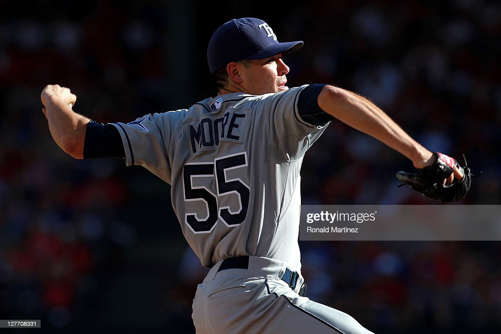 Pitcher <a gi-track='captionPersonalityLinkClicked' href=/galleries/search?phrase=Matt+Moore+-+Baseball+Player&family=editorial&specificpeople=15003307 ng-click='$event.stopPropagation()'>Matt Moore</a> #55 of the Tampa Bay Rays pitches while taking on the Texas Rangers during Game One of the American League Division Series at Rangers Ballpark in Arlington on September 30, 2011 in Arlington, Texas.