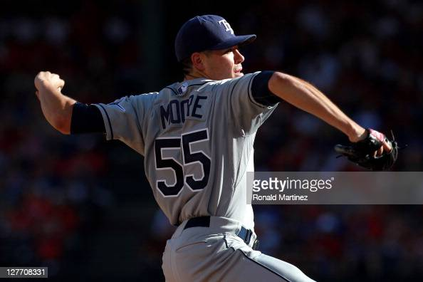 Pitcher Matt Moore of the Tampa Bay Rays pitches while taking on the Texas Rangers during Game One of the American League Division Series at Rangers...