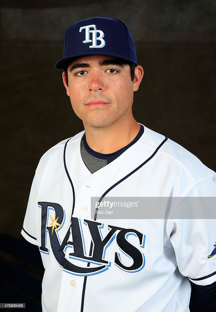 Pitcher <a gi-track='captionPersonalityLinkClicked' href=/galleries/search?phrase=Matt+Moore+-+Baseball+Player&family=editorial&specificpeople=15003307 ng-click='$event.stopPropagation()'>Matt Moore</a> #55 of the Tampa Bay Rays poses for a portrait at Charlotte Sports Park during photo day on February 26, 2014 in Port Charlotte, Florida.