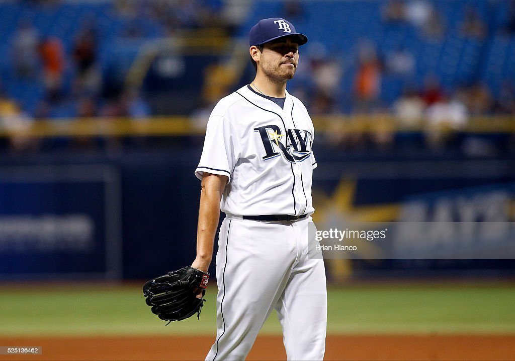 Pitcher <a gi-track='captionPersonalityLinkClicked' href=/galleries/search?phrase=Matt+Moore+-+Baseball+Player&family=editorial&specificpeople=15003307 ng-click='$event.stopPropagation()'>Matt Moore</a> #55 of the Tampa Bay Rays reacts on the mound after giving up a three-run home run to Joey Rickard of the Baltimore Orioles during the fifth inning of a game on April 27, 2016 at Tropicana Field in St. Petersburg, Florida.