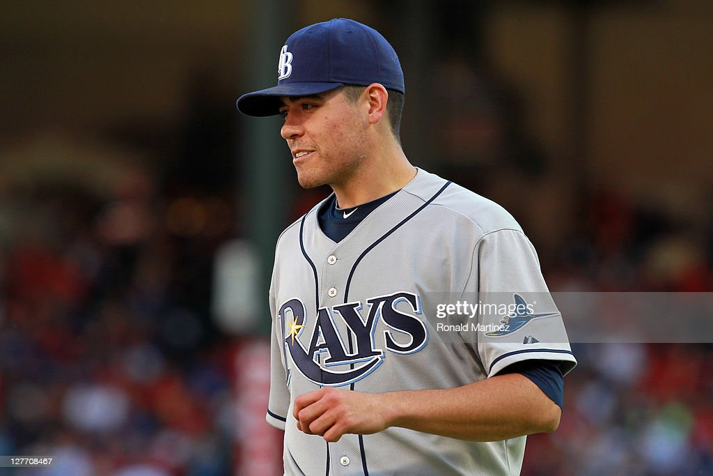 Pitcher <a gi-track='captionPersonalityLinkClicked' href=/galleries/search?phrase=Matt+Moore+-+Baseball+Player&family=editorial&specificpeople=15003307 ng-click='$event.stopPropagation()'>Matt Moore</a> #55 of the Tampa Bay Rays reacts while taking on the Texas Rangers during Game One of the American League Division Series at Rangers Ballpark in Arlington on September 30, 2011 in Arlington, Texas.