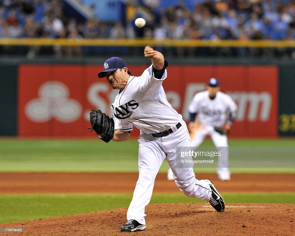 Pitcher <a gi-track='captionPersonalityLinkClicked' href=/galleries/search?phrase=Matt+Moore+-+Baseball+Player&family=editorial&specificpeople=15003307 ng-click='$event.stopPropagation()'>Matt Moore</a> #55 of the Tampa Bay Rays starts against the Kansas City Royals June 14, 2013 at Tropicana Field in St. Petersburg, Florida.