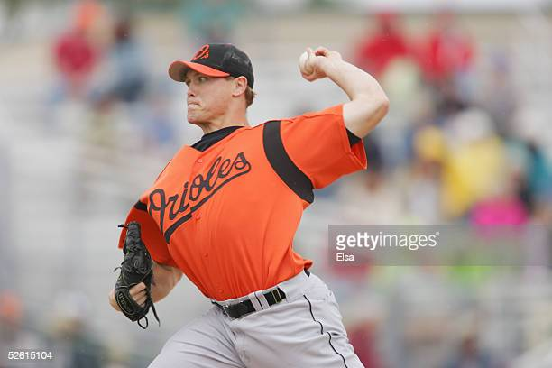 Pitcher Matt Riley of the Baltimore Orioles delivers a pitch at Roger Dean Stadium on March 3 2005 in Jupiter Florida The Baltimore Orioles defeated...