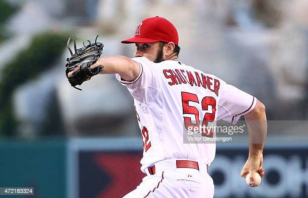 Pitcher Matt Shoemaker of the Los Angeles Angels of Anaheim pitches in the first inning against the Seattle Mariners during the MLB game at Angel...