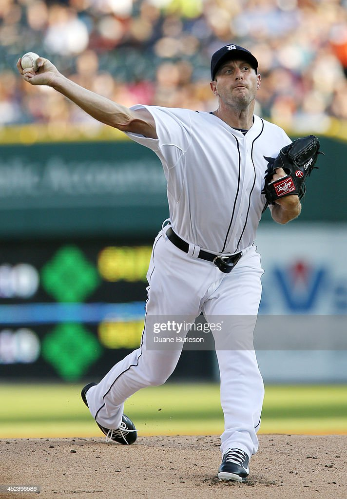 Pitcher <a gi-track='captionPersonalityLinkClicked' href=/galleries/search?phrase=Max+Scherzer&family=editorial&specificpeople=594071 ng-click='$event.stopPropagation()'>Max Scherzer</a> #37 of the Detroit Tigers delivers against the Cleveland Indians during the first inning of game two of a doubleheader at Comerica Park on July 19, 2014 in Detroit, Michigan.