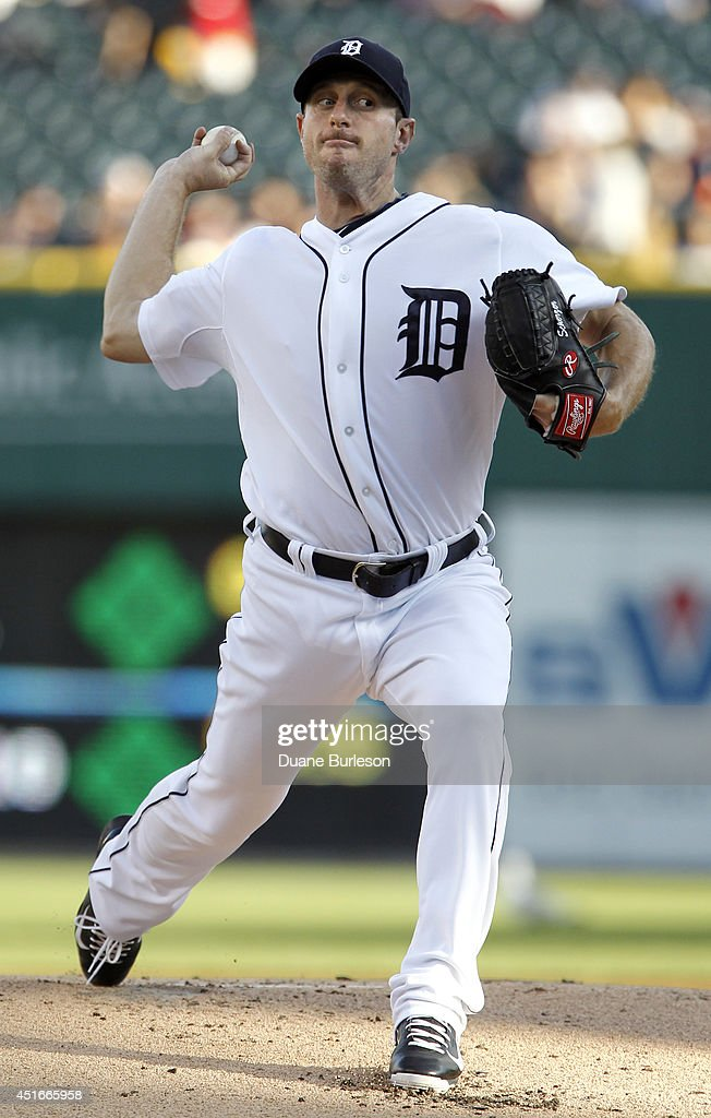 Pitcher <a gi-track='captionPersonalityLinkClicked' href=/galleries/search?phrase=Max+Scherzer&family=editorial&specificpeople=594071 ng-click='$event.stopPropagation()'>Max Scherzer</a> #37 of the Detroit Tigers delivers against the Tampa Bay Rays during the first inning at Comerica Park on July 3, 2014 in Detroit, Michigan.
