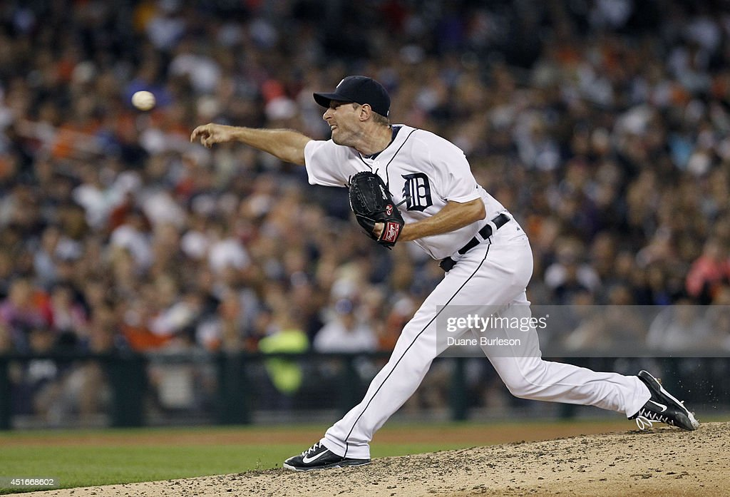 Pitcher <a gi-track='captionPersonalityLinkClicked' href=/galleries/search?phrase=Max+Scherzer&family=editorial&specificpeople=594071 ng-click='$event.stopPropagation()'>Max Scherzer</a> #37 of the Detroit Tigers delivers against the Tampa Bay Rays during the eighth inning at Comerica Park on July 3, 2014 in Detroit, Michigan. Scherzer recorded his 10th win in the Tigers 8-1 defeat of the Rays.