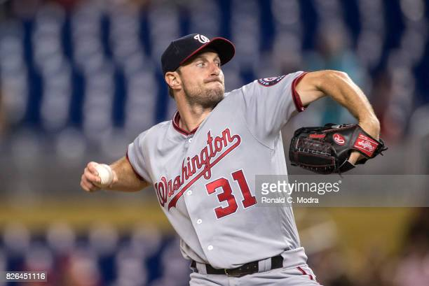 Pitcher Max Scherzer of the Miami Marlins pitches during a MLB game against the Washington Nationals at Marlins Park on August 1 2017 in Miami Florida