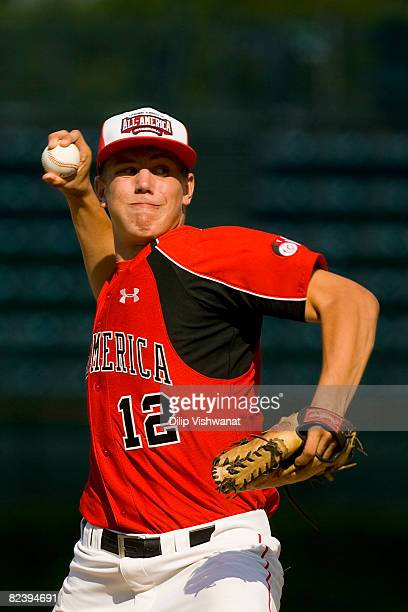 Pitcher Michael Dedrick of the Team One throws against the Baseball Factory team during the Under Armour AllAmerica Baseball Game at Wrigley Field...