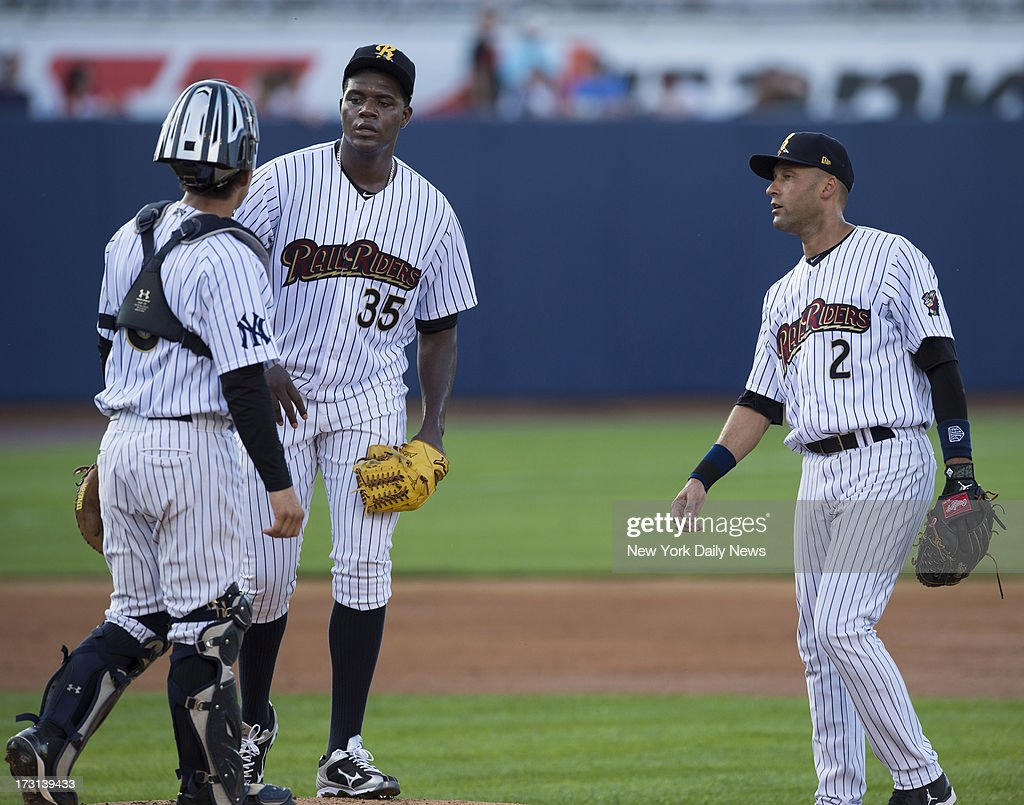 Pitcher Michael Pineda sweats out rough start to rehab outing before settling in as fellow Yankee Derek Jeter looks to pitch. Jeter on the field, 2nd inning, Scranton/Wilkes-Barre Raiders in their game against the Lehigh Valley Ironpigs at PNC Field.