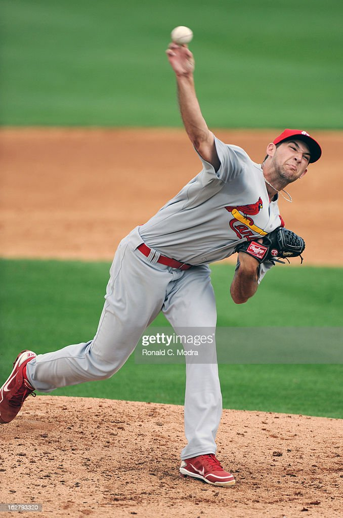 Pitcher Michael Wacha #74 of the St. Louis Cardinals pitches during a spring training game against the Florida Marlins at Roger Dean Stadium on February 23, 2013 in Jupiter, Florida.