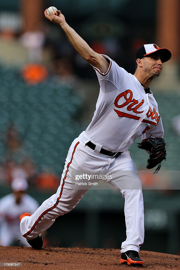 Pitcher Miguel Gonzalez #50 of the Baltimore Orioles works the first inning against the Houston Astros at Oriole Park at Camden Yards on July 31, 2013 in Baltimore, Maryland.